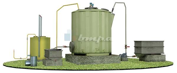 Схема комплекса по переработке органических отходов на базе биореактора БУГ-1 с газгольдером